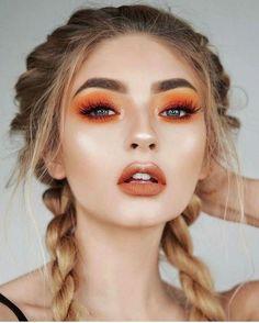 Orange Eyeshadow Looks, Orange Makeup, Fall Makeup Tutorial, Beauty Make-up, Beauty Hacks, Beauty Trends, Beauty Tips, Beauty Ideas, Fashion Beauty