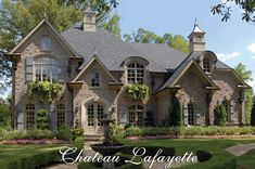 Chateau Lafayette House Plan # 02191, Front Elevation, French Country Style House Plans, European Manor House Plans