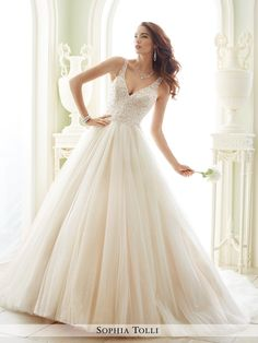 Sophia Tolli - Sleeveless misty tulle ball gown with richly hand-beaded and embroidered illusion shoulder straps and sweetheart bodice, deep V-neckline, illusion and lace V-back features zipper trimme