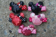 2 Minnie Mouse Birthday Favor hair clips Minnie Mouse Hair Clip You pick any TWO. $5.00, via Etsy.