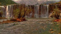 Wodospad, Rzeka, Kamienie, Drzewa