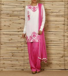 Off White and Pink Georgette & Crepe Salwar Suit | by Sanskriti