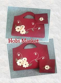 This Pin was discovered by Sib Fabric Wallet, Fabric Bags, Pouch Pattern, Purse Patterns, Ribbon Flower Tutorial, Eco Friendly Bags, Felt Purse, Embroidery Bags, Diy Handbag