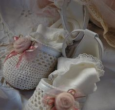 romantic, vintage inspired, baptism shoes, crochet lace, silk tulle handmade flowers
