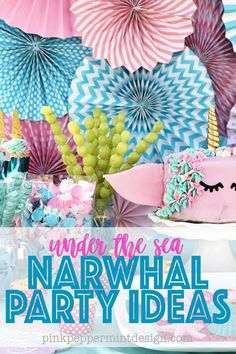 Under the sea party ideas narwhal party ideas.  Tons of great DIY Narwhal Party Ideas.  Party food, party decorations, narwhal party favors, and more.  #partyideas #partydecor #DIYPartyIdeas #partyfood #narwhal #PinkPeppermintDesign