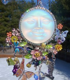 OOAK Kirks Folly Seaview Moon Sun Catcher Ornament Wind Chime Fairy Dragonfly +!