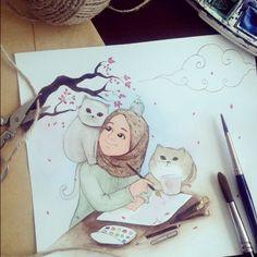 Serbest çizer,sanatsever, kedisever, çiçeksever birisine... :) @lorerunya  #çizerdençizere#muhabbetile #illustrasyon#illustration #watercolour#suluboya#çizim