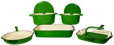 $339.99 | FancyCook Classic 8-Piece Enamel Cast Iron Green Cookware Set. (CLICK IMAGE TWICE FOR UPDATED PRICING AND INFO) See More Enamel Cast Iron Cookware Sets at www.momsbestkitchen.com/product-category/cast-iron-cookware-sets/