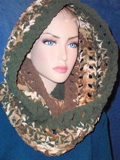 Camouflage Green Crochet Infinity Scarf, Brown Crochet Infinity Scarf Mens Scarf, Plush Infinity Scarf Crocheted Infinity Scarf, Green Scarf by Freshofftheneedle on Etsy