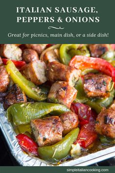 Peppers & onion - Easy recipe for how to Make Italian Peppers, Onion and Sausage that leave you wanting more! -Italian Sausage, Peppers & onion - Easy recipe for how to Make Italian Peppers, Onion and Sausage that leave you . Italian Sausage Recipes, Italian Dinner Recipes, Easy Dinner Recipes, Easy Meals, Easy Recipes, Italian Cooking, Sweet Sausage Recipes, Sausage Dinner Recipes, Authentic Italian Recipes