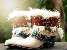upcycled boho cowboy boots by TheLookFactory Boho Boots, Handfasting, Shirt Skirt, New Wardrobe, Cowboy Boots, Boho Fashion, Vintage Dresses, Upcycle, Captain Hat