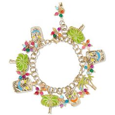 Rosantica Enameled gold-tone beaded charm bracelet ($170) ❤ liked on Polyvore featuring jewelry, bracelets, gold, beaded bangles, beading charms, stacking bangles, bracelet bead charms and beaded jewelry