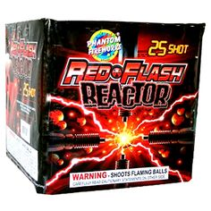 Phantom Fireworks® Red-Flash Reactor, 25-Shot: Spectacular display of red glitter comets to red flashing strobes and red glitter willows.