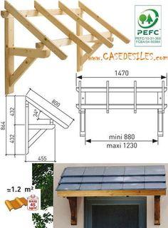 Auvent en bois au Meilleur Prix : Auvent bois porte et fenêtre 1 pan MAR1508
