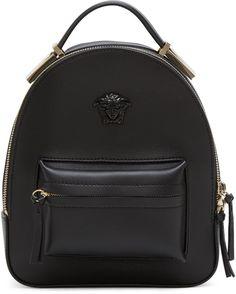 4dd4ebdb46ac Versace - Black Mini Medusa Backpack  leatherbackpackpurse Leather Backpack  Purse