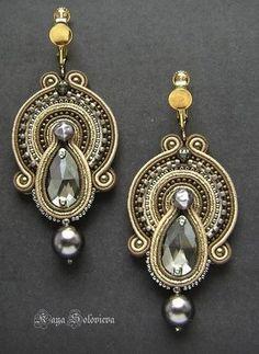 Handmade Clips By Boucheron Soutache Necklace, Beaded Earrings, Beaded Jewelry, Polymer Clay Charms, Polymer Clay Earrings, Handmade Necklaces, Handmade Jewelry, Unique Jewelry, Jewelry Accessories