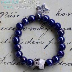 Sininen nukkuva mustapöllö rannekoru 15€ #owl #bracelet #armcandy #pöllö #pöllökorut