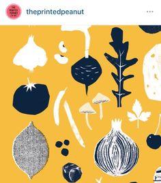 printed peanut, hebden bridge, yorkshire, tea towel, illustration, screen print, design, collage, navy yellow, food, cooking