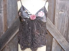 Upcycled brown satin camisole with vintage doily