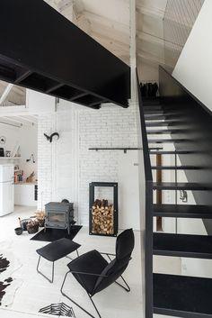 black stairs & bridge in white interior