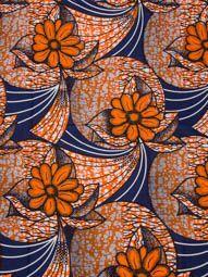 Tissu africain wax réel qualité haute 6 yards au motif fleur orange rw211314