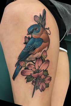 Tattoo uploaded by ulyss blair Nature Tattoos, Body Art Tattoos, Sleeve Tattoos, Tatoos, Bird And Flower Tattoo, Flower Thigh Tattoos, Feminine Tattoo Sleeves, Feminine Tattoos, Traditional Thigh Tattoo