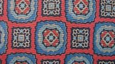 LIBERTY OF LONDON INDIAN RED CADETBLUE GEOMETRIC SILK NECKTIE TIE MOC3015A #T06