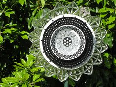 Glass Yard Art | Glass Plate Art Fantasy Flowers for Yard by TheEverlastingGarden