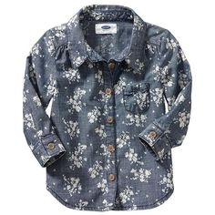 Old Navy Floral Chambray Shirts For Baby - Chambray blue floral ($18) via Polyvore