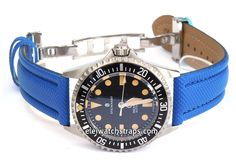 Polyurethane Blue Waterproof watchstrap For Steinhart Ocean Vintage Military