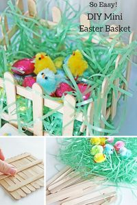This simple Easter craft will be a hit with your kids! Popsicle stick Easter baskets make for a cute kids' table centerpieces and are a fun DIY craft to keep little hands busy! These DIY Easter baskets make a great preschool or Kindergarten craft too. Check out the easy tutorial from @ellaandannie