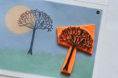 Card with handmade rubber stamp Lotte Huxley Stamp Carving, Hand Carved, Stamps, Creativity, Paper Crafts, Texture, Pretty, Cards, How To Make
