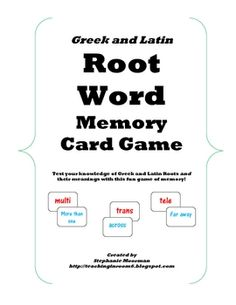 This classroom tested game has the students actively engaged in learning Greek and Latin Roots.  They talk the roots out while trying to find match...