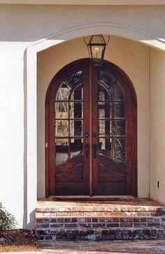 8 Foot Tall Mahogany Arch Top Double Door 4 Lite Great