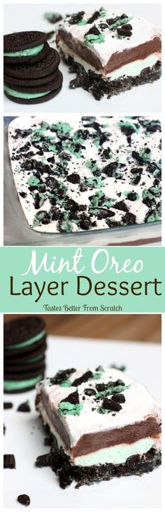 No-bake Mint Oreo Layer Dessert! I love mint chocolate anything!