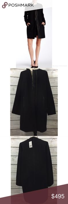 •NWT• Vince Wool and Leather Minimalist Coat Black Perfect for any Blogger outfit this fall and winter. Leather Pinstripe details on the shoulders and The Back. Reasonable offers are always welcome! Please no trades 🌸 Vince Jackets & Coats