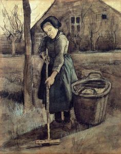 Vincent Van Gogh : A peasant girl raking. October, 1881