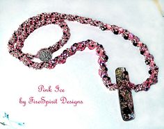 Pink Ice- OOAK, beadwoven necklace with dicroic glass pendant by FireSpiritDesigns on Etsy, $65.00