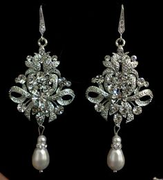 Fleur De Lis Earrings, Damask Wedding, Victorian Jewelry, Pearl Bridal Accessories, ROYALS. $65.00, via Etsy.