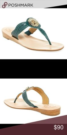 NEW JACK ROGER LILAH TEAL CROC SANDAL - 8M NEW JACK ROGER LILAH CROC SANDAL - 8M.  Lilah thong sandal featuring a stacked mini wedge and a light gold non-functional turncock ornament.The croc style leather turnkey lock sandal w gold detail takes the traditional Jack Rogers up a notch as these ready to wear sandals go w any chic dress or skirt & can transition from day to night in the blink of an eye. Do not miss out on these fabulous sandals Brand new, no box.  RETAIL: $148 / M - $70 with…