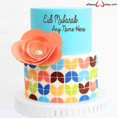 Write name on Amazing Flower Petal Eid Wish Cake with Name with Name And Wishes Images and create free Online And Wishes Images with name online. - Happy Eid Mubarak Wishes  IMAGES, GIF, ANIMATED GIF, WALLPAPER, STICKER FOR WHATSAPP & FACEBOOK