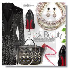 """Black Beauty"" by xwafflecakezx ❤ liked on Polyvore featuring Balmain, Marc Jacobs, Marni, La Perla, Christian Louboutin and Lapcos"