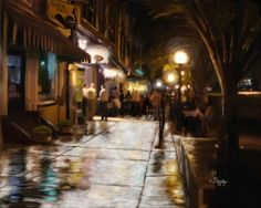 """""""College Avenue at Night in Athens, Georgia"""" by Tim Beasley, Athens, Georgia // College avenue and the pubs along it are the heart of the Athens social scene. The pubs come and go but they are not forgotten by the hundreds of students that called them their hang-out home. My painting depicts a night scene along College avenue as the... // Imagekind.com -- Buy stunning, museum-quality fine art prints, framed prints, and canvas prints directly from independent working artists and…"""