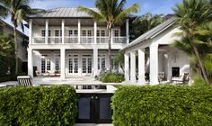 Windsor, Florida Like balcony and covered porch along first floor May House, British Colonial Style, Beach Bungalows, Villa, Facade House, Florida Home, White Houses, Coastal Homes, Architecture Details