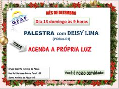 GEAP – Grupo Espírita Antonio de Pádua Convida para a sua Palestra Pública – Santo Antônio de Pádua – RJ - http://www.agendaespiritabrasil.com.br/2015/12/12/17890/