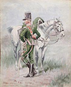 7ème Chasseurs - 1814 - Officier - d'après Edouard Detaille
