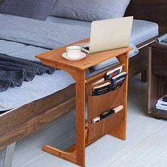 Amazing offer on Tangkula Bamboo Sofa Side Table, TV Tray Couch Coffee Snack End Table Bed Side Table Storage Bag, Laptop Desk Modern Furniture Home Office online - Topfurnitureshop Cheap Bedside Tables, Modern Bedside Table, Modern Desk, Sofa Side Table, Side Table With Storage, Table Storage, Tv Furniture, Modern Furniture, Overbed Table