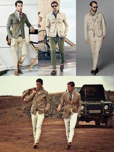 Safari wear for men - HerrenMode Safari Outfits, Safari Dress, Safari Clothes, Safari Costume, British Khaki, Safari Chic, Safari Jacket, Rugged Style, Dapper Day