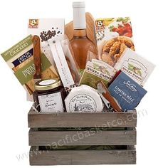 WIne and cheese gourmet crate Cheese Gift Baskets, Cheese Gifts, Wine Gift Baskets, Gourmet Gift Baskets, Wine Cheese, Fresh Fruit, Crackers, Gourmet Recipes, Crate
