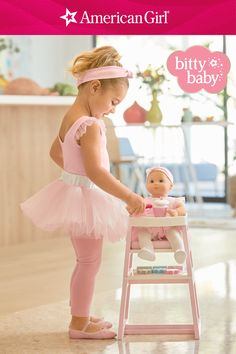 Your tiny dancer and her Baby will look too-too cute in matching ballerina outfits. Both versions have a pink leotard, mesh skirt with a satin bow at the waist, and a pink and white dotted headband. Bitty Baby's outfit also comes with tights and ballet slippers. Shop clothing for Bitty Baby and little girls! Baby Dolls For Toddlers, Pink Leotard, Baby Doll Accessories, All American Girl, Our Generation Dolls, Tiny Dancer, Baby Learning, Bitty Baby, Girl Online